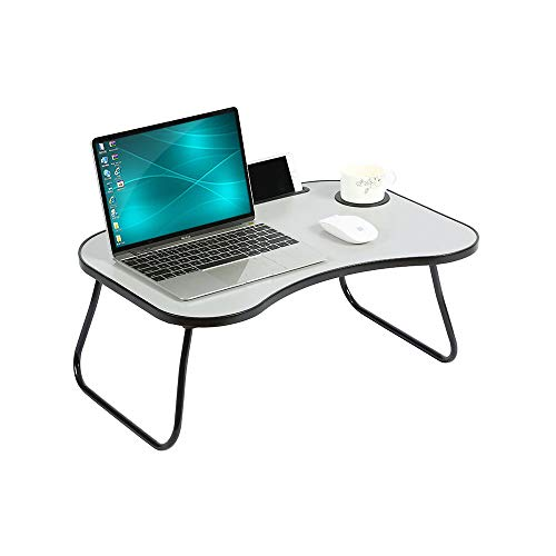 """HOME BI Large Laptop Desk for Bed with Cup Holder, Pen & Phone Holder, Fits Up to 17.3"""" Laptop, Portable Breakfast Tray for Bed Sofa, Notebook Stand Reading Holder, Bed Writing Desk (Grey)"""