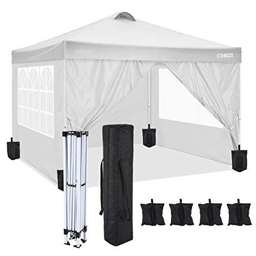 COBIZI Pop Up Canopy Tent Straight Leg Commercial Instant Canopy Pop Up Canopy with Sidewalls Outdoor Sun Shade Event Tent for Camping Garden Party Beach, Canopy Sand Bags x4, (10'x10', White)