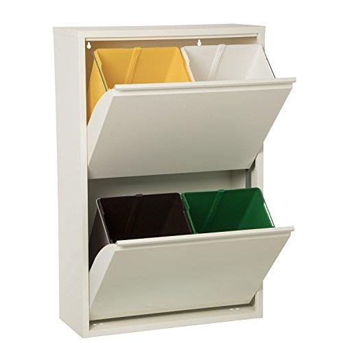 DRW Papelera Reciclaje Basura Blanca Metal Cubos Colores (Blanco) Apertura Individual de 2 en 2