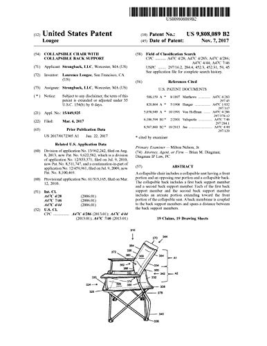 Collapsible chair with collapsible back support: United States Patent 9808089