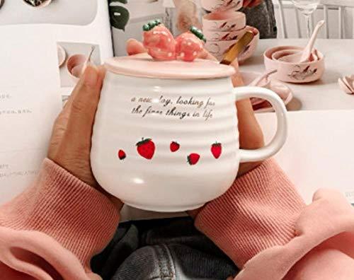 khgtsz Mok Discoloration Couplesbreakfast melkwater kopje tafelthee set koffie cupHigh capaciteit ContemporaryceramicSuper schattig meisje aardbei schattig poeder 350ml