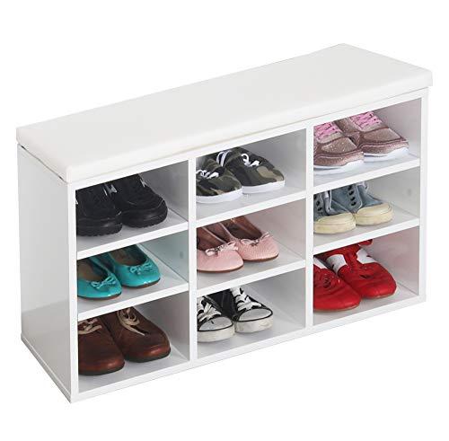 RICOO WM035-W-W Banco Zapatero 79x49x30 Armario Interior con Asiento Organizador Zapatos Mueble recibidor Perchero Entrada Madera Color Blanco