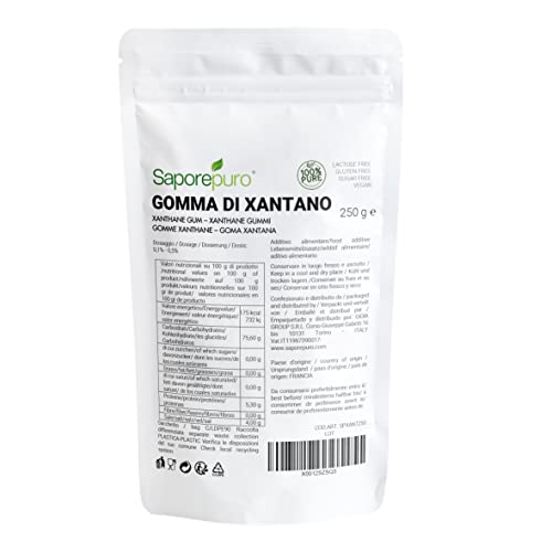 Goma Xantana - 250 gr - ideal para helados, salsas, sorbetes, gel, masa para pizza, mixología, cocina molecular
