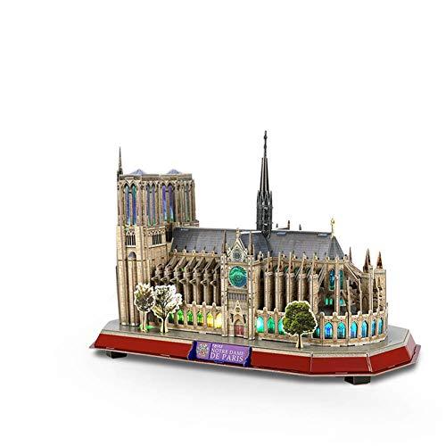 Ybzx Architektonisches Puzzle-Modell, 3D-Montage-Puzzleskulptur-Dekoration der Kathedrale Notre Dame Dreidimensionales Handwerksspielzeug mit Licht