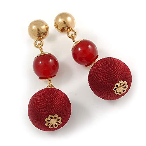 Ox Blood/Burgundy Double Ball Drop Earrings In Gold Tone - 55mm L