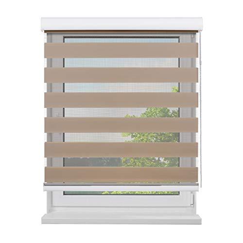 Fensterdecor Doppel-Rollo mit Aluminium-Kassette, Rollo für Fenster mit seitlichem Kettenzug, Seitenzug-Rollo mit Blende in Creme für Innen-Bereich, lichtdurchlässig u. verdunkelnd, 140 x 180 cm