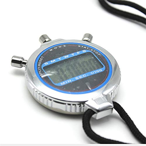 Wuxingqing Sport stopwatch metalen digitaal sport-stopwatch trainingsapparaat voor trainer groot display datum en wekker voor outdoor-sporten