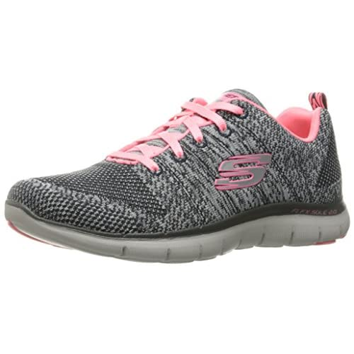 Skechers Flex Appeal 2.0 - High Energy, Sneaker Donna, Grigio (Charcoal/Coral), 36 EU