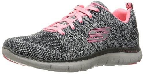 Skechers Damen Flex Appeal 2.0 - High Energy Sneaker, Grau (Charcoal/coral), 35 EU