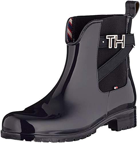 Tommy Hilfiger Damen TH Hardware Rubber Bootie Stiefeletten, Schwarz (Black 990), 41 EU