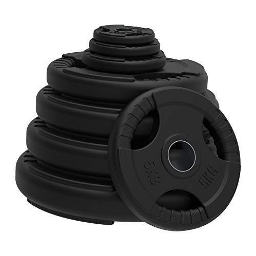 Body Revolution Olympic Weight Plates – Rubber Coated Cast Iron Weights – Tri Grip Radial - Range of Weights & Sizes Sold Separately (20kg Pair)