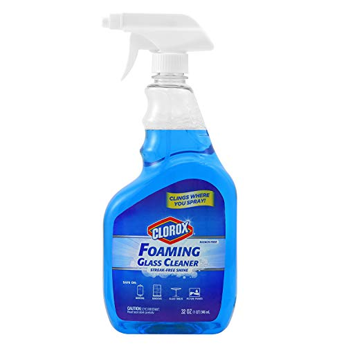 glass cleaners Clorox Foaming Glass Cleaner Trigger Spray | All Purpose Window And Glass Cleaner | Washes Away Germs | Streak-Free & No-Drip formula Glass Cleaners for the Home or Office, 16 Oz
