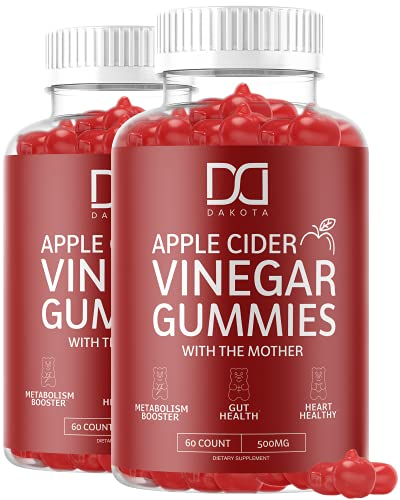 Organic Apple Cider Vinegar Gummies ACV Supplement for Weight Loss with The Mother with Beet Root, Vitamin B12, Folate, VIT B6, Folic Acid Gummy Alt to Apple Cider Vinegar Capsules Pills (2 Pack)