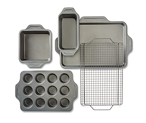 All-Clad Pro-Release Nonstick Bakeware Set Including Half Sheet, Cooling & Baking Rack, Round Cake, Loaf Pan, 5 piece, Gray