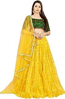 Bouffant Women's Net and Banglori Satin Semi-Stitched Lehenga Choli with Dupatta, Yellow, Free Size