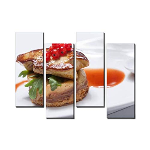 Wocatton Seared Foie gras Wall Art Background Decor Pictures Print On Canvas Art Stretched and Framed Perfect Home Decoration