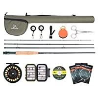 Maxcatch Extreme Graphite Fly Fishing Rod 4-Piece 9 Feet with IM6 Carbon Blank, Hard Chromed Guides, A Cork Grip (Size:3/4/5/6/7/8/10wt) (Fly Fishing Combo, 5 wt -9' Half-Handle Rod,5/6 Reel)