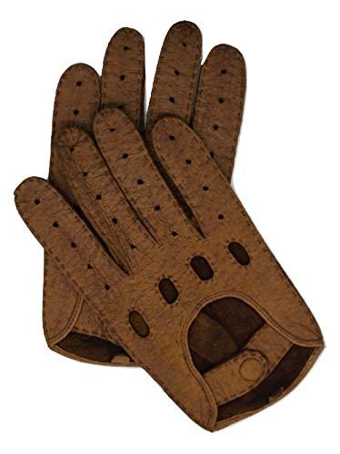 Exklusive Auto Lederhandschuhe aus PECCARY-LEDER, Autohandschuhe mit Finger, handgenäht, Autofahrerhandschuhe Herren (8, Cork)