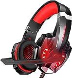 Cuffie Gaming per PS4, Cuffie da Gioco con Leggero Over Ear Cuffie Microfono LED Controllo Volume Bass Stereo, Regolabile Fascia Capelli, Cuffie Gioco per Xbox One/Nintendo Switch/PC/MAC/Laptop/Tablet