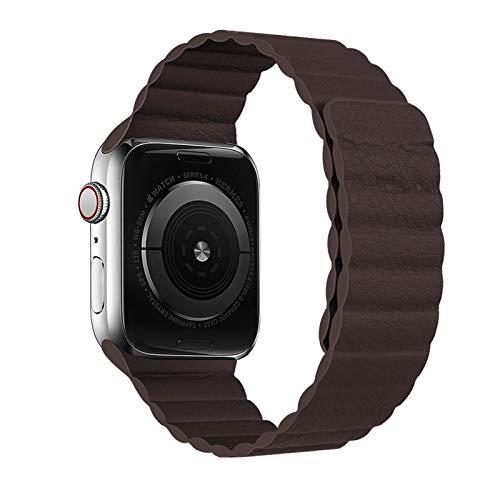 XCXFCA Bucle de Cuero para Watch Band 44mm 40mm 38mm 42mm Accesorios Pulsera magnética Pulsera de cinturón para Watch Serie 3 4 5 SE 6 Correa (Band Color : Coffee, Band Width : 38mm or 40mm)