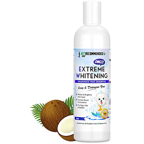 Vet Recommended OMG Extreme Dog Whitening Shampoo (16 Oz /473ml) - Coconut Based 100% Safe - Free from Soaps, Detergent, Bleach & Fragrance - Make Your Dog