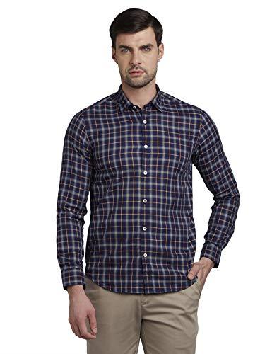 Colorplus Chekered Blue Coloured Cotton Shirts
