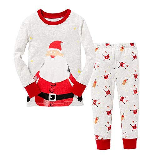 Pijamas para niños para niños Ropa de Dormir de Navidad de Papá Noel Pijamas de Manga Larga Pjs para niños pequeños 3-4 años 4T