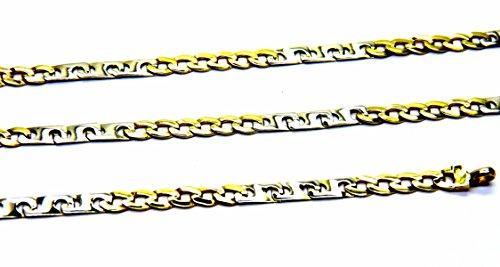 Collana Oro Giallo Bianco 18kt (750) Catena Fantasia Bicolore Cm 50 Uomo
