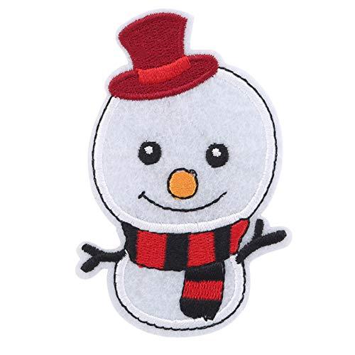 Kaned - Lote de 5 parches bordados navideños con diseño de muñeco de nieve de Papá Noel, diseño de muñeco de nieve, para accesorios de disfraces de Navidad, muñeco de nieve de Navidad, 9,1 x 5,4 cm