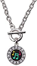 Inspired Silver - Musical Notes Toggle Charm Necklace for Women - Silver Circle Charm 18 Inch Necklace with Cubic Zirconia Jewelry