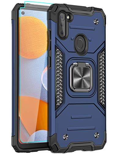 LEEGU Case for Samsung Galaxy A11, Military Grade Heavy Duty Armor Protection Phone Case 15ft. Drop Tested Cover with Magnetic Ring Kickstand and HD Screen Protector for Samsung A11, Blue