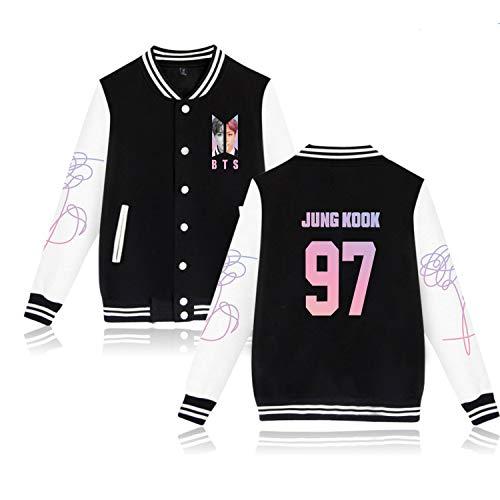 Kpop BTS Jung Kook Baseball Jacket Hoodie Unisex Uniform Love Yourself World Tour Sweatshirt Sweater Coat