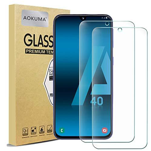 Vetro Temperato Samsung Galaxy A40, AOKUMA [2 Pezzi] Pellicola Protettiva Samsung Galaxy A40 Vetro Temperato Antiurto Antigraffio e Anti-impronta, Durezza 9H, Compatibile con Cover