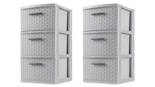 Sterilite 3 Drawer Weave Tower Cement Case of 2