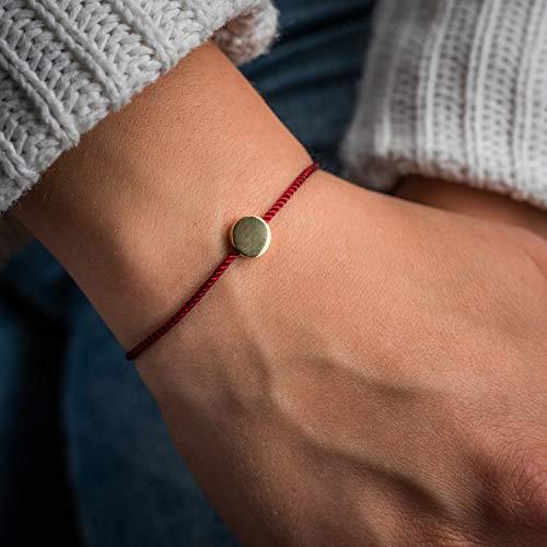 Made by Nami Filigranes Kordel-Armband mit Anhänger - Freundschaftsarmbänder Geburtstagsgeschenk beste Freundin - Größenverstellbar - Glücksbringer Armband (Rot Kreis-Armband)