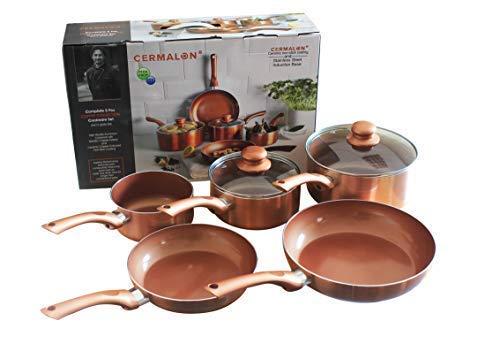 Cermalon K311CP Juego de cerámica de 5 Piezas, Aluminio, Cobre, 46 x 29 x 13 cm