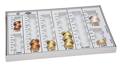 Wedo 160758037 Geld-Zählbrett (aus Polystyrol, mit Metallboden, 8 Münzrillen, rutschfesten Gummifüßen, 26,8 x 16,5 x 3,5 cm) lichtgrau