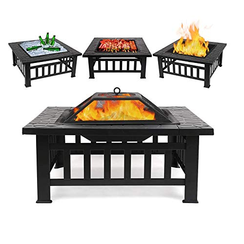 UNA 3 in 1 Fire Pit with BBQ Grill Shelf,Spark Guard Lid & Hand Tool for Outdoor Metal Brazier Firepit Heater/BBQ/Ice Pit