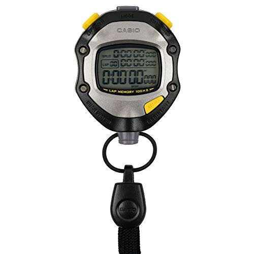 CASIO(カシオ) ストップウォッチ ラップタイム スプリット 計測 2メモリー 5気圧防水 操作音 消音 切替 ブラック HS-70W-1JH