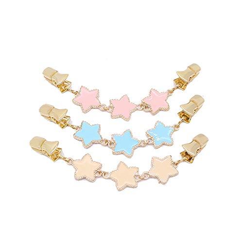 Insignia de Disfraz de Broche de Cristal 3 Unids Mujeres Nias Cardigan Clip Pentagram Forma Clip de Suter 3 Colores Encantador Pato Clips Clip de Cuello Camisa para Seoras Regalo joyera