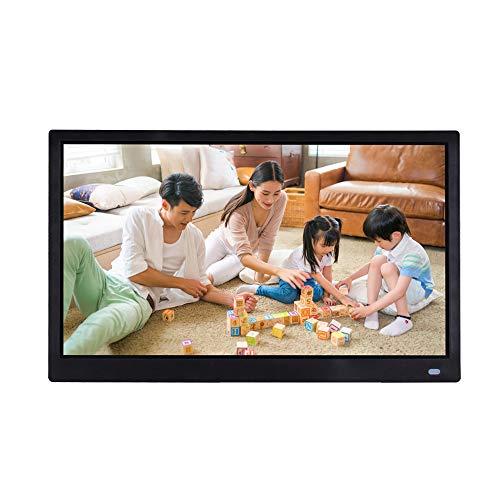 YOLANDE 720P/1080P Digitaler Bilderrahmen, IPS HD Elektronischer Fotorahmen, Video/Foto/Musik-Player Kalender Automatischer EIN/Aus Timer,Schwarz,10.1 inch 720P