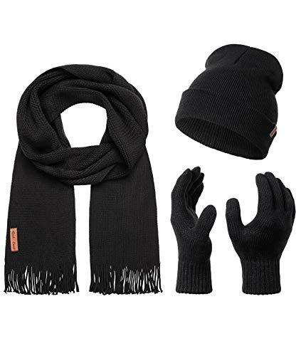 Rock Creek Winter Mütze Schal Handschuh-Set Geschenkset Wintermütze Winterschal Winterhandschuhe Herrenmütze Damenmütze U-100 Schwarz Einheitsgröße