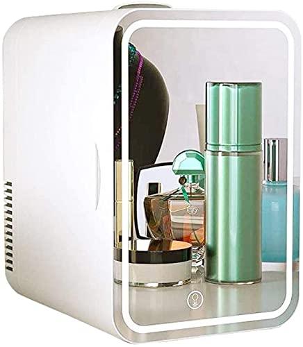 showyow Mini refrigerador de Belleza, Espejo de Maquillaje LED Regulable + refrigerador para el Cuidado de la Piel, refrigerador portátil de Coche de 8 l, se Puede Utilizar para Enfriar un