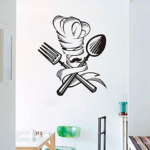 Jsnzff Herramienta de Cocina Calcomanía de Pared Cuchara Tenedor Chef Bigote Sombrero Etiqueta de la Pared Cocina Restaurante Restaurante Decoración Calcomanía 66x57cm