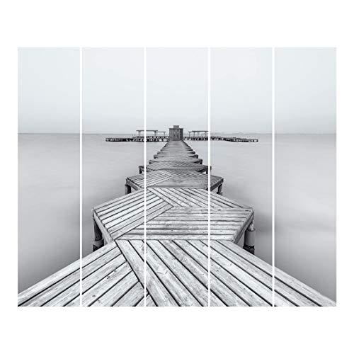 Schiebevorhang 5er Set Hölzerner Pier und Schwarz-weiß o. Aufhängung á 250x60 cm