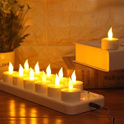 Preisvergleich Produktbild ARDUX LED Flammenlose Kerzen,  Wiederaufladbare Teelicht Kerzen Lampen mit Halter Ladestation für Party Hochzeit Hausgarten Outdoor Innendekoration (Set von 12)