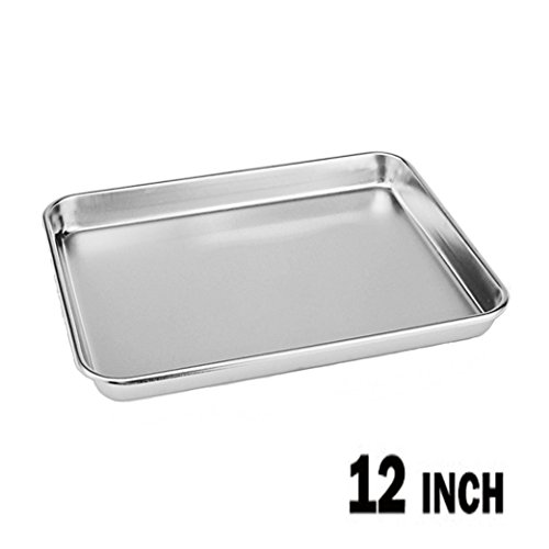 Neeshow Stainless Steel Compact Toaster Oven Pan Tray Ovenware Professional, 12.5 x 9.75 x 1' ,...