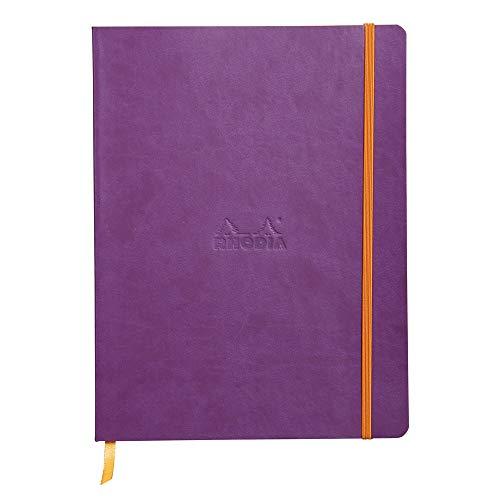 Rhodia 117560C Notizheft Rhodiarama mit weichem Umschlag, dot grid, 80 Blatt, 90 g elfenbeinfarbenes Papier, 190 x 250 mm, Lesezeichen, Innentasche,1 Stück,violett