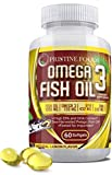 Omega 3 Fish Oil 1200 Mg Essential Fats Natural Immune System Booster Supplement 100% Pure EPA DHA Heart Brain Joint Nerve Skin Support 60 Soft Gel Capsules Made in USA