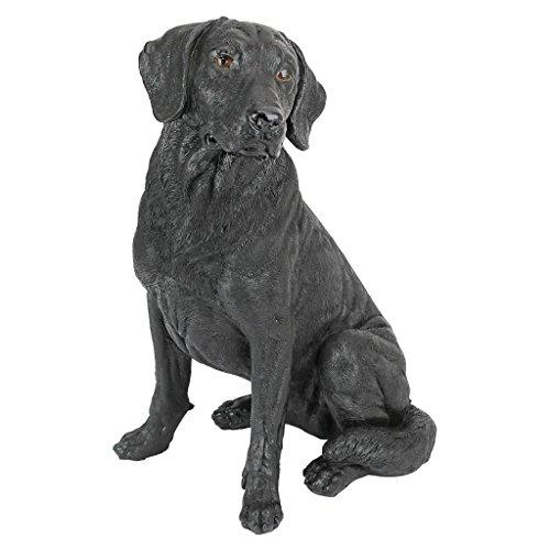 Design Toscano Chien Retriever Labrador Noir Statue de Jardin, 38 cm, polyrésine, noir